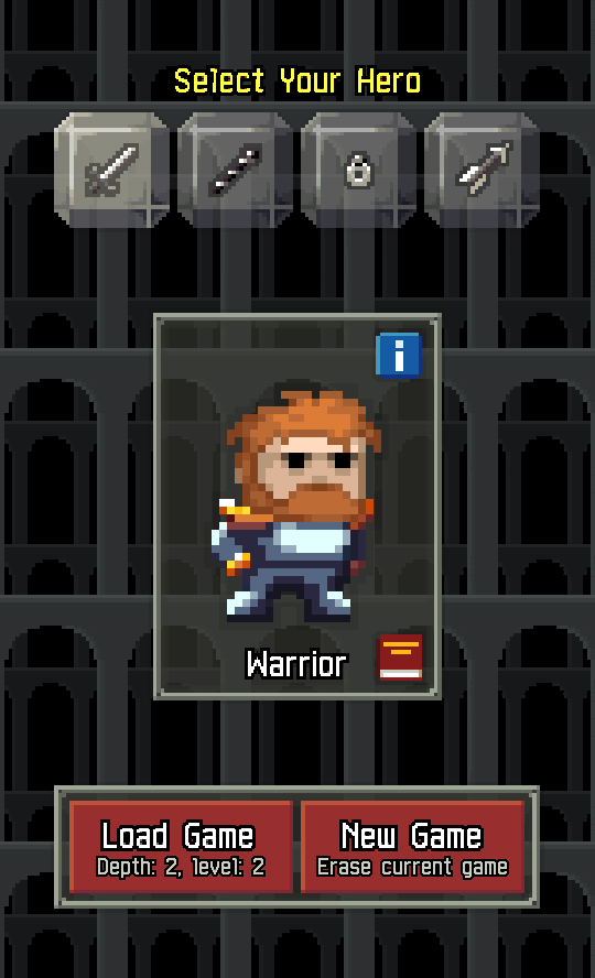 Pixel Dungeon select_hero