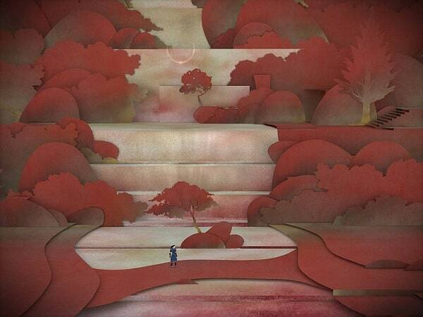 tengami screenshot - waterfall