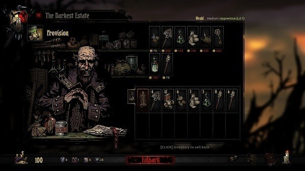Darkest Dungeon: Mignola-style art at a shop screen