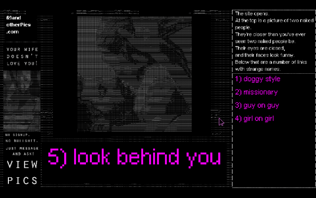 You Must Be 18 or Older to Enter: game screenshot courtesy IndieCade