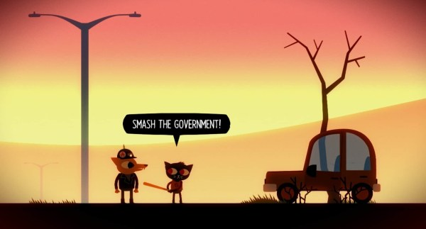 Night in the Woods game screenshot, smash the government