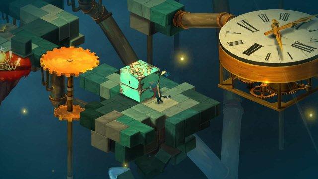 Figment game screenshot, box pushing