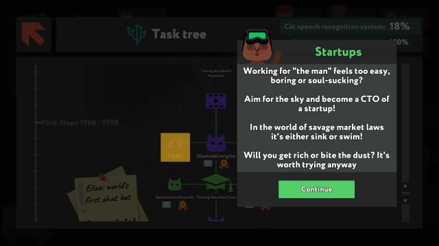 while True: learn() game screenshot, startups