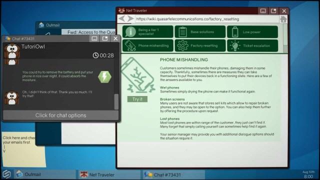 Tech Support: Error Unknown game screenshot, desktop interface