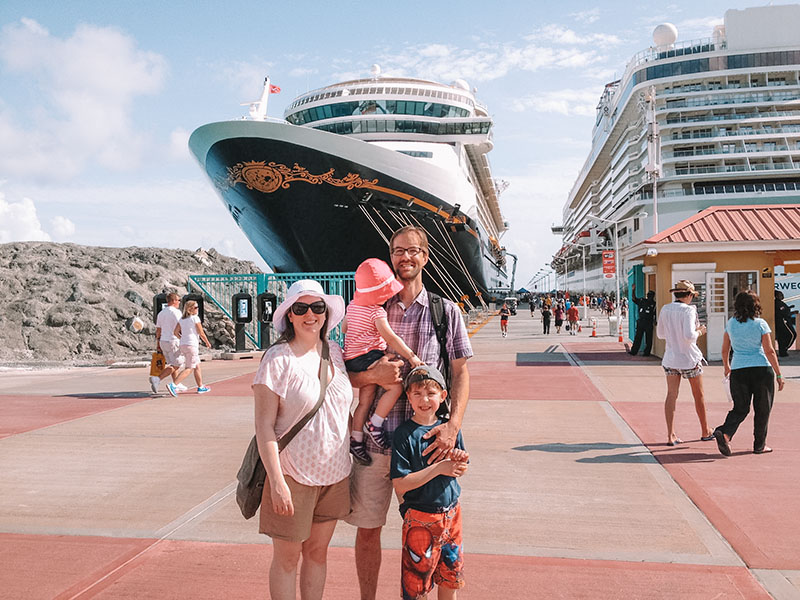Guide to first time cruising for Disney Cruises and for those afraid to cruise. Family photo on the Disney Fantasy.