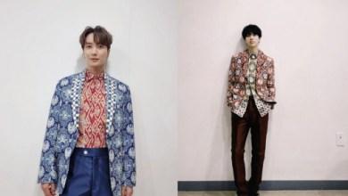 Leeteuk dan Yesung menggunakan batik desain karya Ridwan Kamil (Foto via Instagram xxteukxx dan yesung1106)
