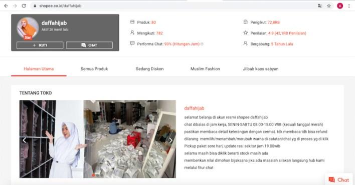 Halaman toko yang meyakinkan seperti Shopee Daffahijab - salah satu pelanggan foto produk Ameltrias