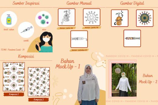 Karya Desain Motif Batik Kelompok Azira, Jacky dan Anindya dengan konsep Pandemi