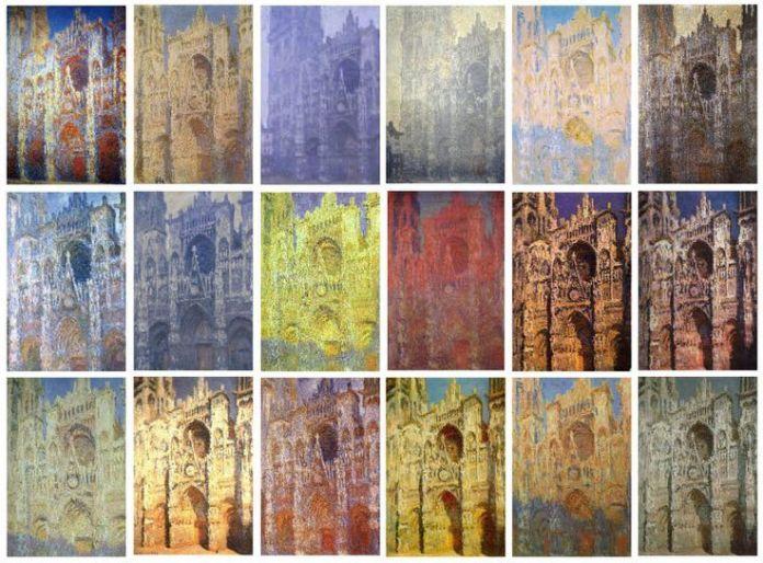 Alcuni dei 48 dipinti della cattedrale di Rouen di Monet.