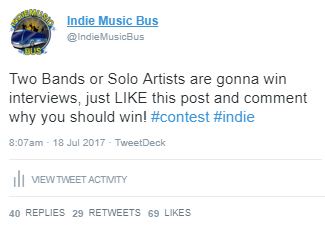 Indie Music Bus Sticky Tweet Promotion