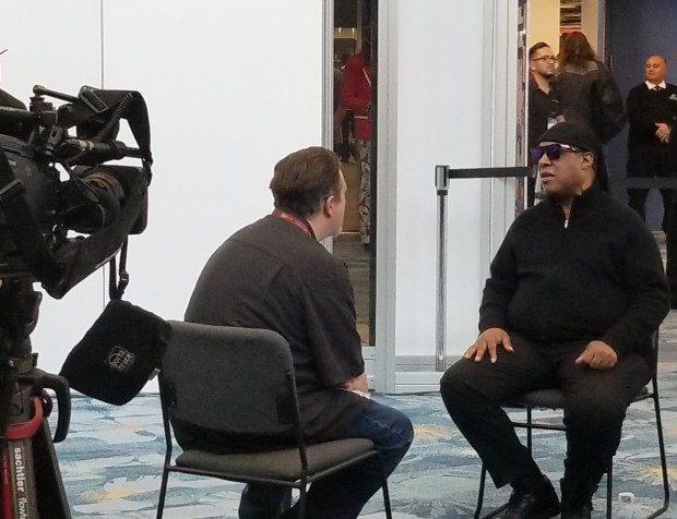 stevie wonder being interviewed. namm 2019