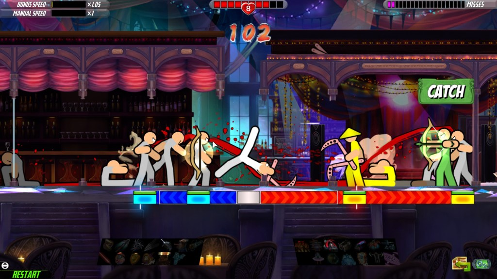 the player character mid-backflip while surrounded by stick figure enemies