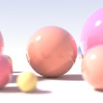 Example of a ray tracing in a 3D scene