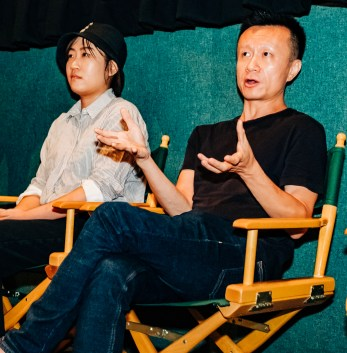 "Actor Zhan Wang and Production designer Yuelin Zhao, of ""Where Dreams Rest"", during the Q&A with ISF-LA host Max Zabell"