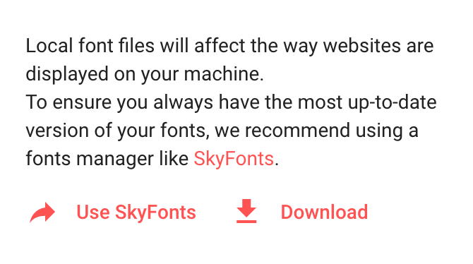 Install Google fonts with Skyfonts app from Google Fonts page