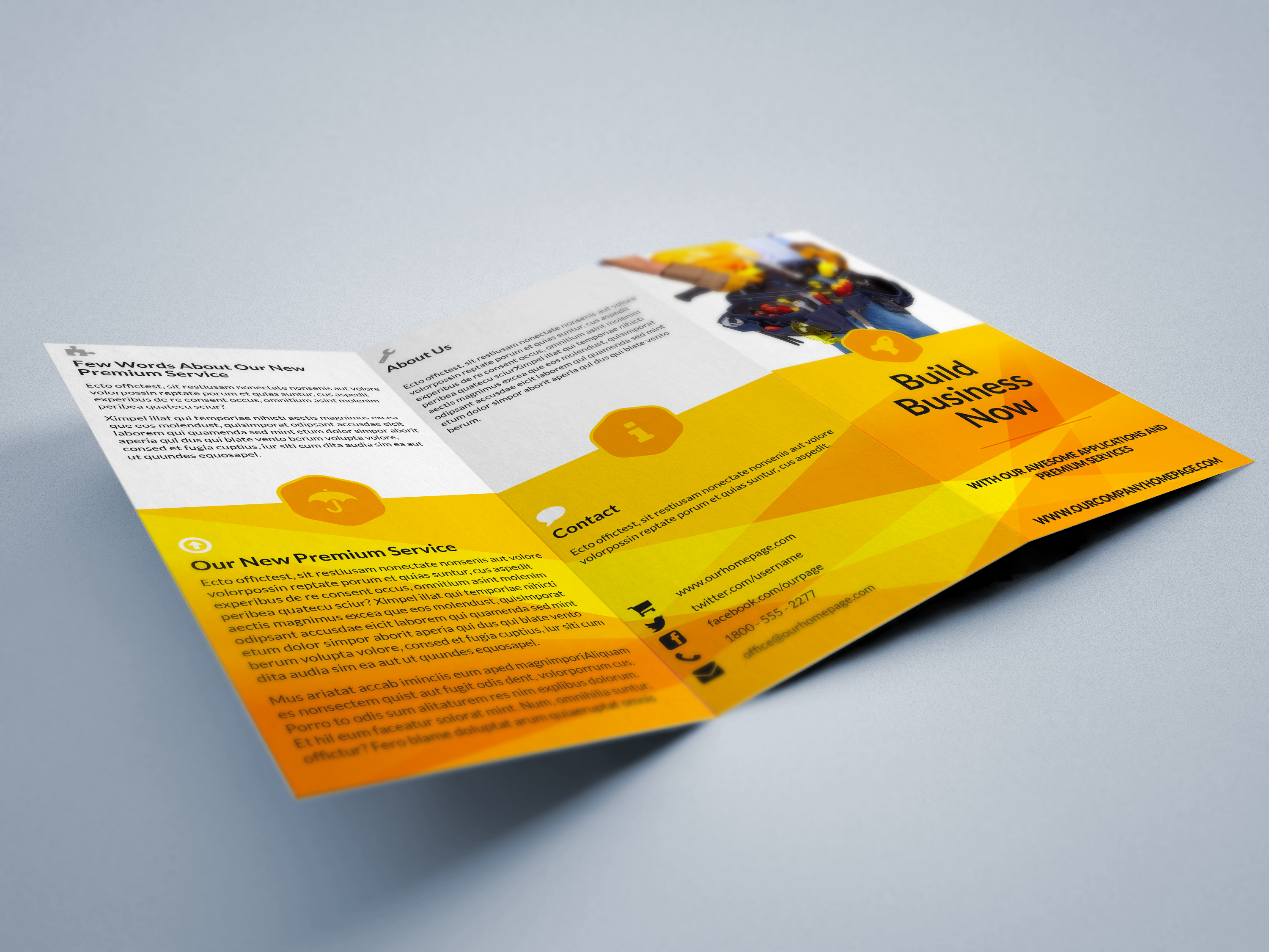 Strong tri fold brochure indiestock for Tri fold brochure template indesign cs6