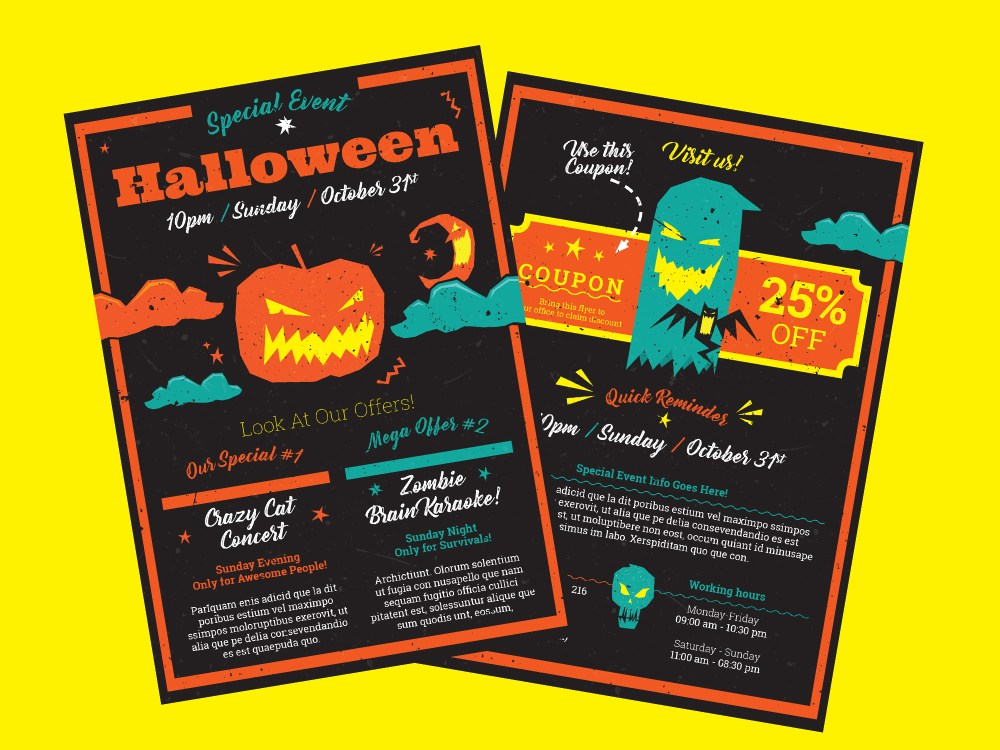 Halloween A5 Flyer Template For Indesign Including Vector Illustrations