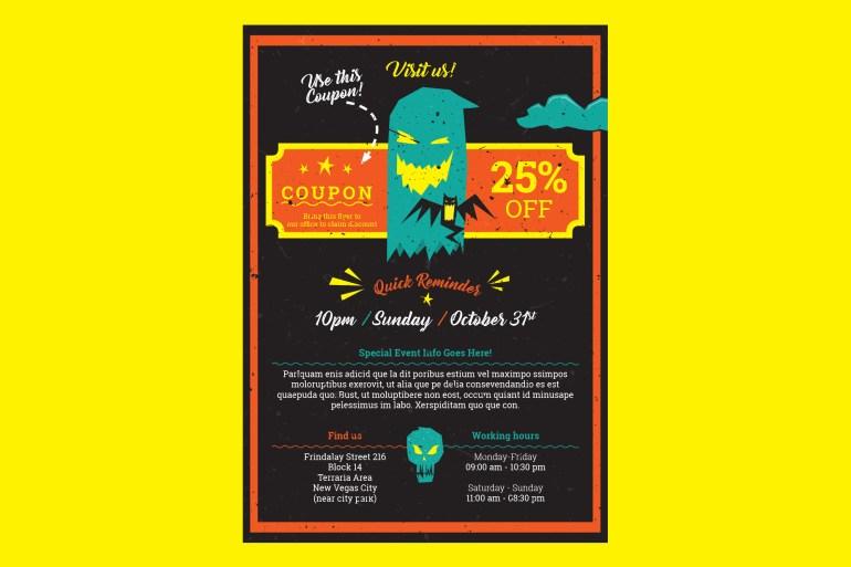 Halloween A5 flyer template
