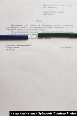Рапорт МВД по жалобе на угрозы от Натальи Зубковой