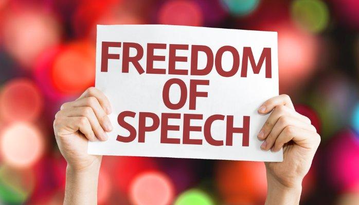 'We leven in een vrij land, en jouw mening is een gevaar voor die vrijheid', is een tegenspraak in zichzelf.