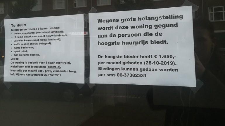 Haagse woning wordt verhuurd aan hoogste bieder: 'Bizar dit'