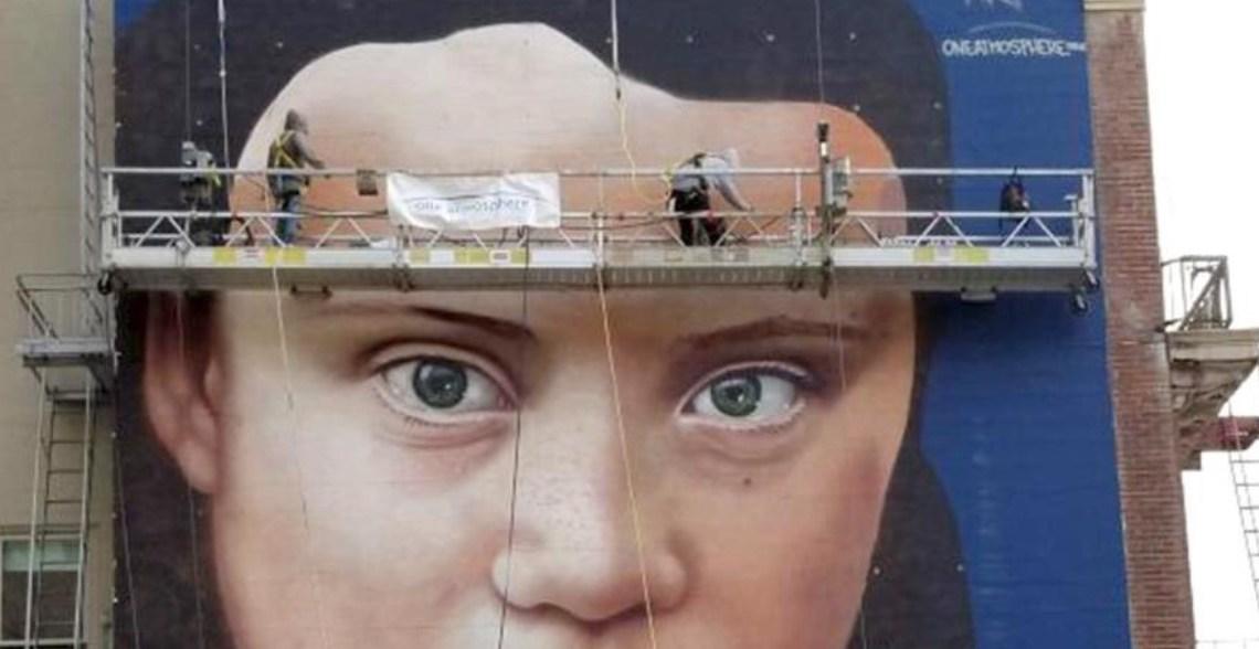 Goed bezig!: Greta Thunberg-muurschildering gebruikt duizenden liters schadelijke aerosolverf
