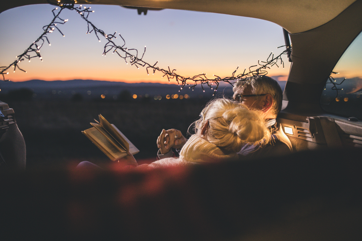 Couple Reading in Car