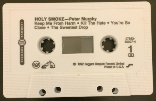 Peter Murphy Holy Smoke US Cassette Tape White Label Promo A Side