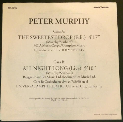 """Peter Murphy The Sweetest Drop ES 7"""" Promo 1992 Back Cover"""