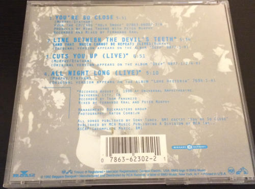Peter Murphy You're So Close US CD 1992 Back Cover