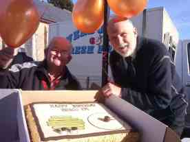 Our most experienced presenter Laurie and our Secretary Greg getting into the birthday spirit - June 2015