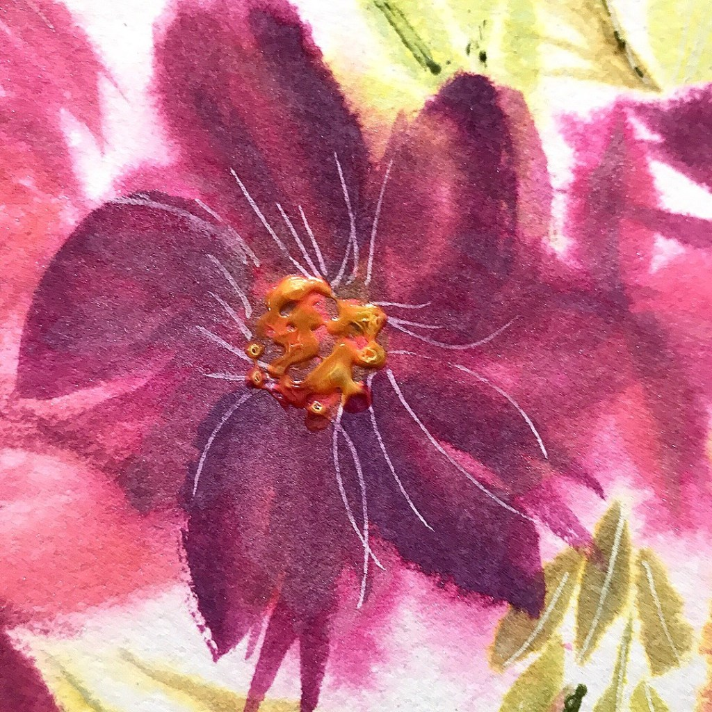 Flower painting with distress oxide inks
