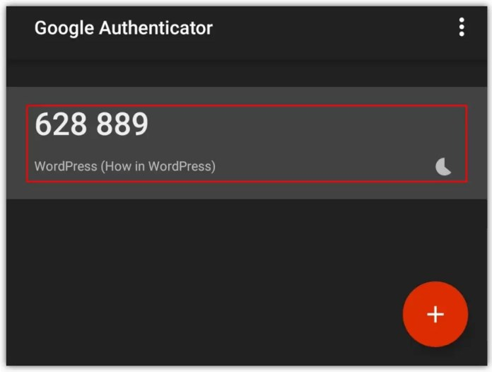 Google Authenticator One Time Passcode
