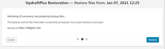 Restore Process of WordPress Website Backup