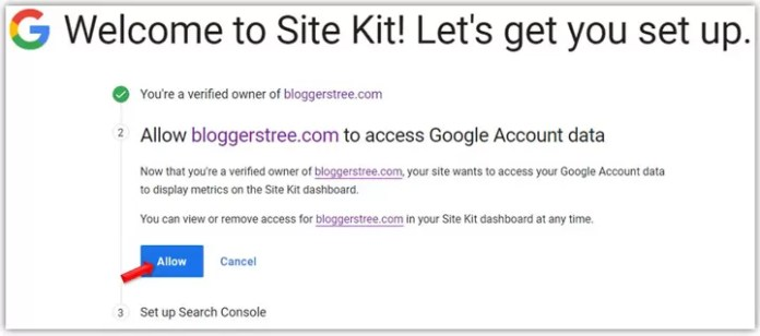 Give Access Permission to Google Site Kit Plugin
