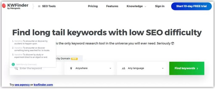 KWFinder a Free Keyword Research Tool