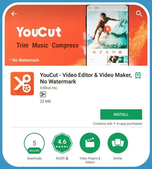 Features of Youcut Video Editing Android Mobile App