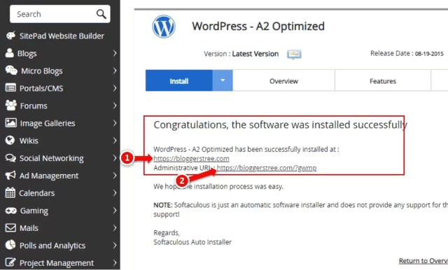 After WordPress installation interface in A2Hosting cPanel