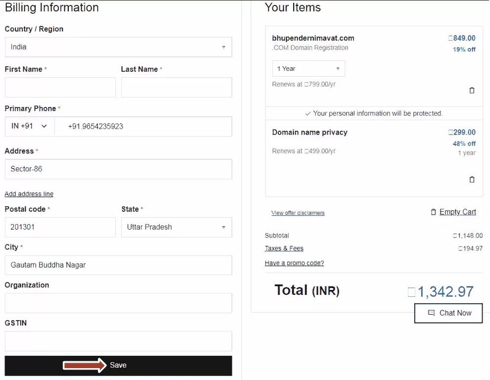 Fill Billing information in GoDaddy