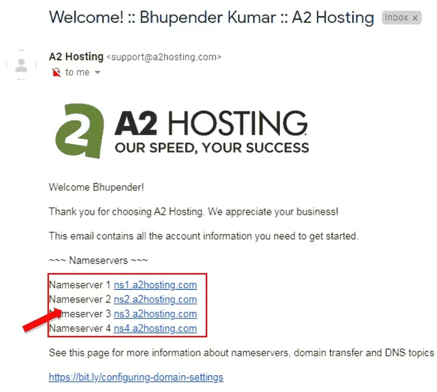 Nameservers Details mail from A2Hosting