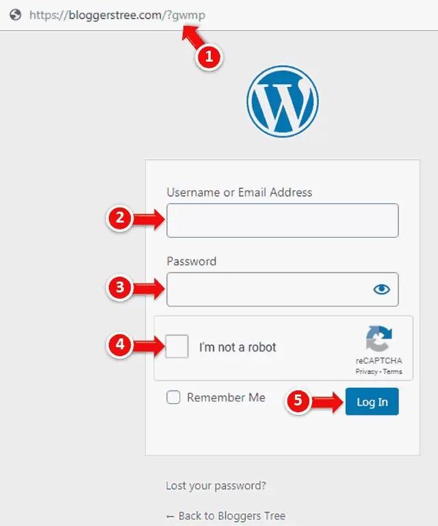 WordPress Website admin login Page