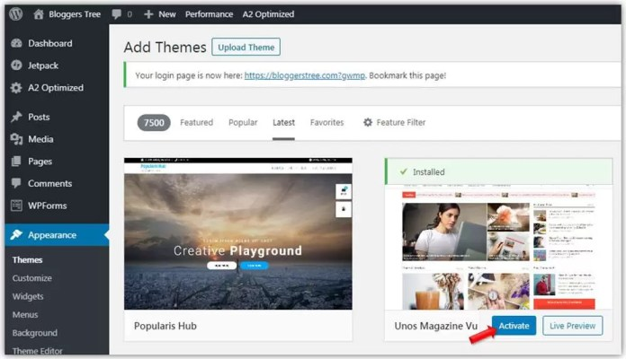 install & activate new theme in WordPress