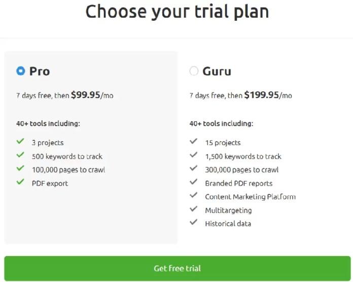 Choose Your SEMrush 7 Days Free Trial Plan