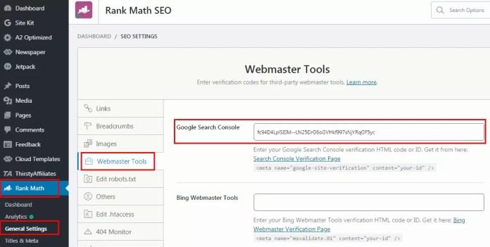 Verify Website in Rank Math SEO Plugin