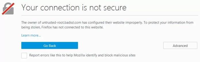 HTTPS Warning in Mozila Firefox