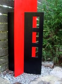 memorial sculpture detail, windows - SW Portland