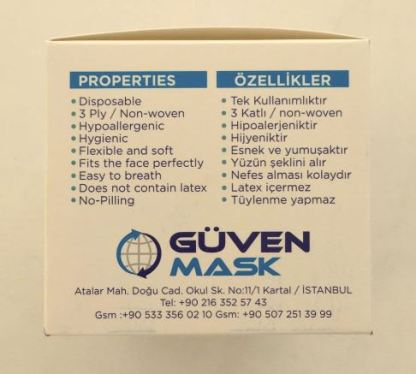 Tek Kullanımlık 3 Katlı Telli Cerrahi Maske 50 Adet