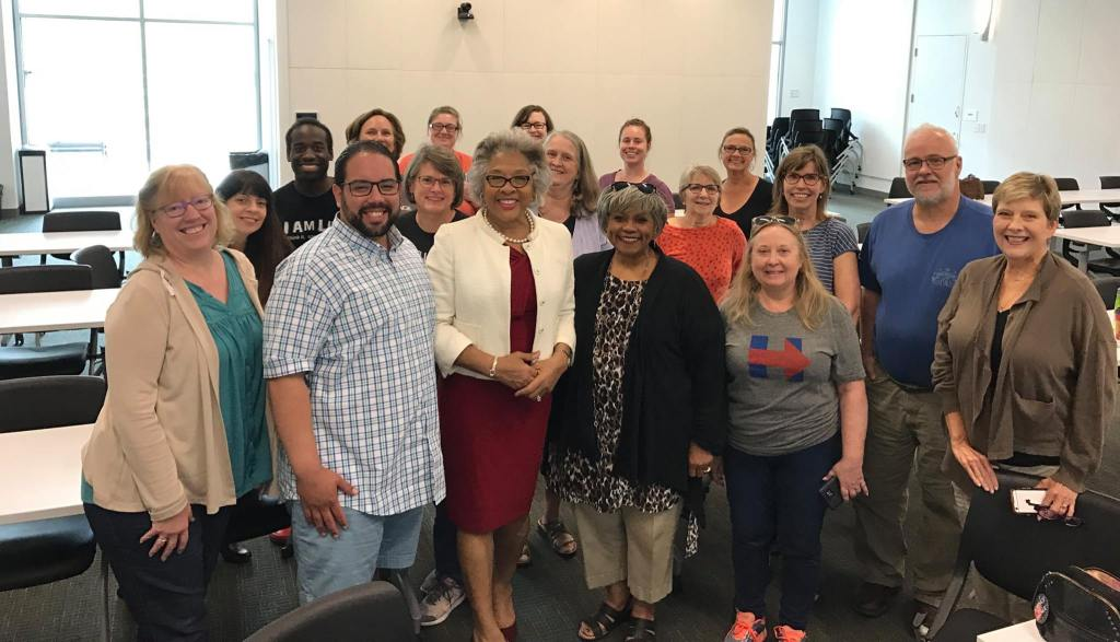 Rep. Joyce Beatty joins Indivisible members at the Ohio District 3 Indivisible meeting on Sunday, April 30,2017.