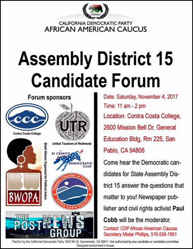 California State Assembly district 15 forum