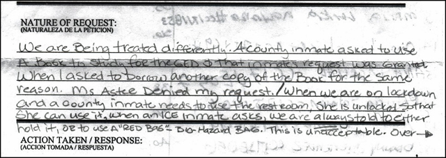 Complaint filed by immigration detainees